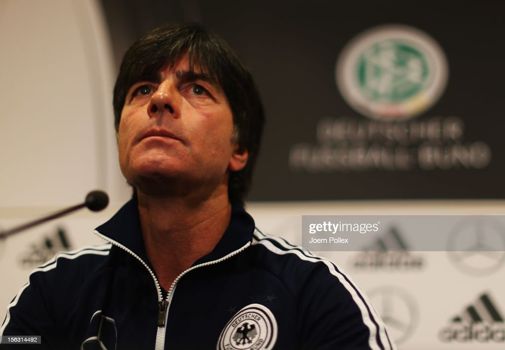 Head coach Joachim Loew of Germany talks to the media during a press conference, on the eve of their friendly international match against the Netherlands, at Marriot Hotel on November 13, 2012 in Amsterdam, Netherlands.