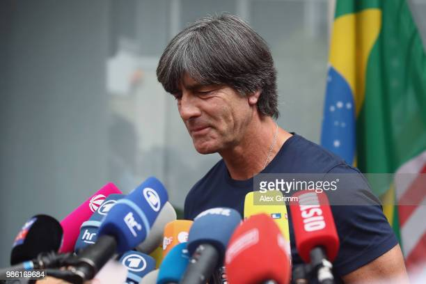 Head coach Joachim Loew of Germany talks to the media during the return of the German national football team from the FIFA World Cup Russia 2018 at...