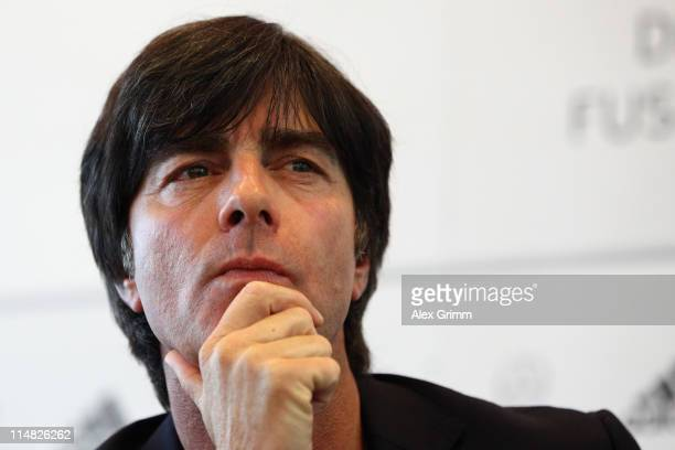Head coach Joachim Loew pauses during a press conference of the German National football team at DFB headquarters on May 27, 2011 in Frankfurt am...