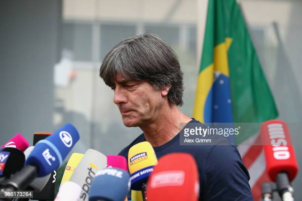 Head coach Joachim Loew pauses during the return of the German national football team from the FIFA World Cup Russia 2018 at Frankfurt International...