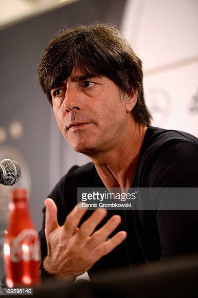 Head coach Joachim Loew reacts during a press conference on May 28 2013 in Miami Florida