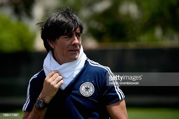 Head coach Joachim Loew reacts during a training session at Barry University on May 24 2013 in Miami Florida