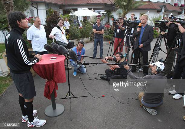 Head coach Joachim Loew speaks to the medie during the Training Camp of the German National Team at Sportzone Rungg on June 01 2010 in Appiano sulla...