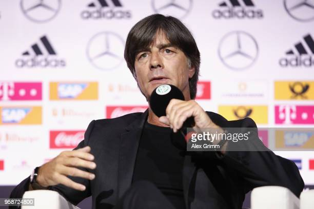 Head coach Joachim Loew talks during the presentation of the provisional squad of Germany for the 2018 FIFA World Championship Russia at Deutsches...