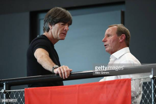 Head coach Joachim Loew talks to Berti Vogts prior to the presentation of the provisional squad of Germany for the 2018 FIFA World Championship...