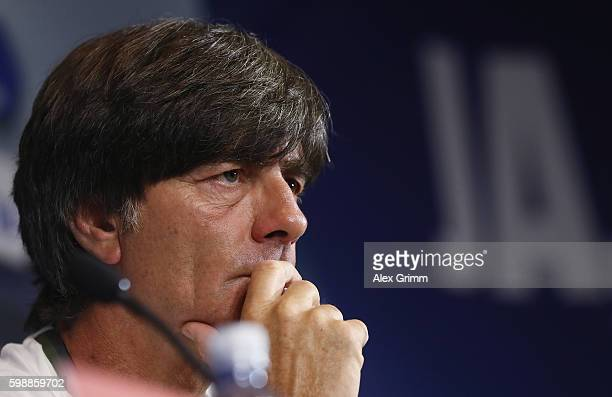 Head coach Joachim Loew talks to the media during a Germany press conference at Ullevaal Stadion on September 3 2016 in Oslo Norway