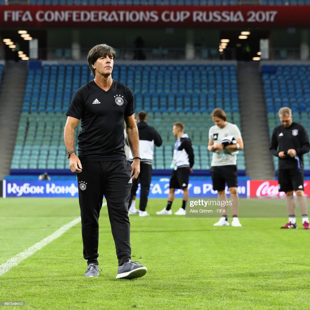Head coach Joachim Loew walks on the pitch during a Germany training session during the FIFA Confederations Cup Russia 2017 at Fisht stadium on June 18, 2017 in Sochi, Russia.