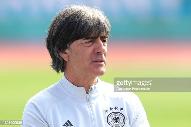 Head coach Joachim Löw of Germany attends a training session of team Germany at the team Germany EURO2020 training camp at Herzo-Base on June 11,...