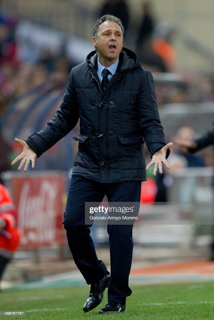 Head coach Joaquin Caparros of Levante UD reacts defeated during the La Liga match between Club Atletico de Madrid and Levante UD at Vicente Calderon Stadium on December 21, 2013 in Madrid, Spain.