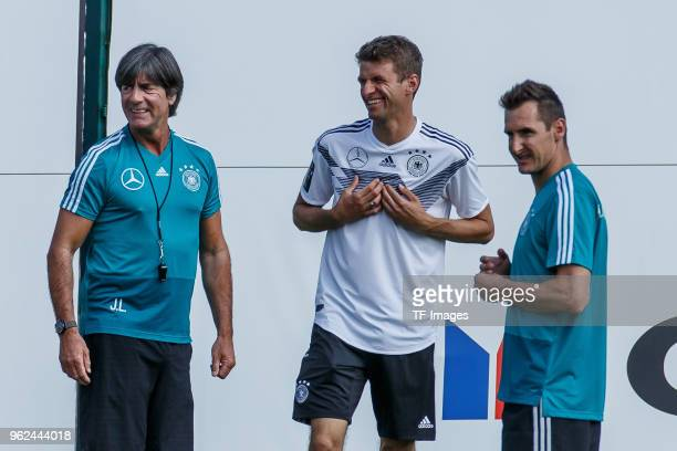 Head coach Jochaim Loew of Germany and Thomas Mueller of Germany look on during the Southern Tyrol Training Camp day three on May 25 2018 in Eppan...