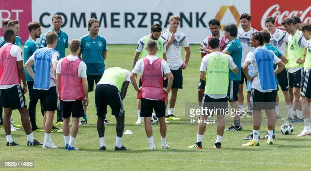 Head coach Jochaim Loew of Germany gives instructions during day seven of the Southern Tyrol Training Camp on May 29 2018 in Eppan Italy