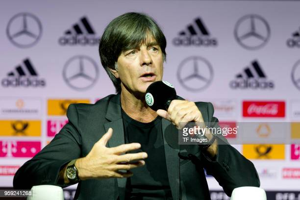 Head coach Jochaim Loew of Germany speaks during the announcement of the German squad for FIFA World Cup Russia 2018 on May 15 2018 in Dortmund...