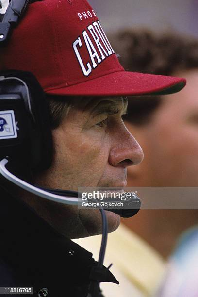 Head coach Joe Bugel of the Phoenix Cardinals looks on from the sideline during a game against the New York Giants at Giants Stadium on October 11...
