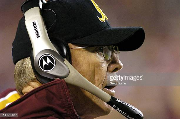 Head coach Joe Gibbs of the Washington Redskins on the sidelines during the game against the Carolina Panthers on August 14, 2004 at Fed Ex Field in...