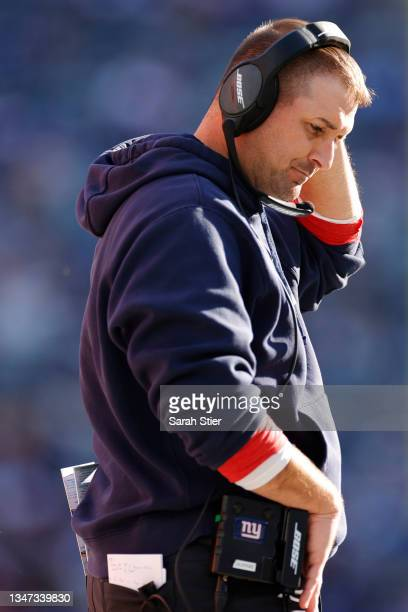 Head coach Joe Judge of the New York Giants looks on during the second half against the Los Angeles Rams at MetLife Stadium on October 17, 2021 in...