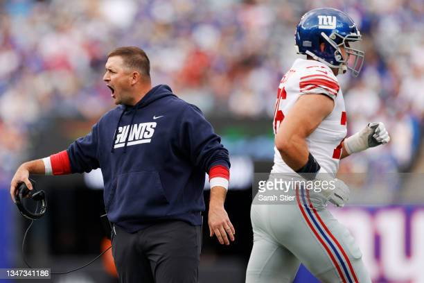 Head coach Joe Judge of the New York Giants reacts during the first half against the Los Angeles Rams at MetLife Stadium on October 17, 2021 in East...