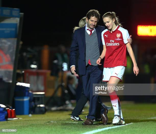LR Head Coach Joe Montemurro of Arsenal have words with Vivianne Miedema of Arsenal during The FA WSL Continental Tyres Cup Final match between...