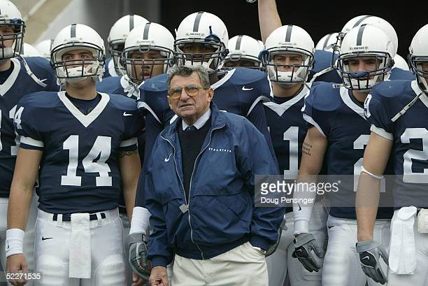 Head coach Joe Paterno and the Penn State Nittany Lions look on before facing the Iowa Hawkeyes at Beaver Stadium on October 23 2004 in State College...
