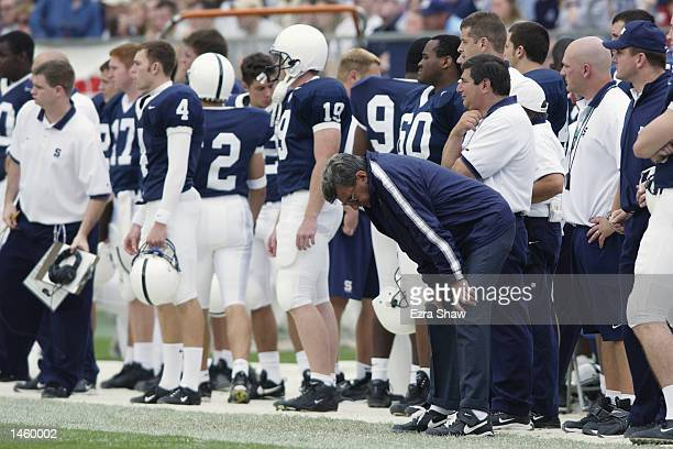 Head coach Joe Paterno of Penn State is upset on the sideline during the game against Iowa on September 28 2002 at Beaver Stadium in State College...