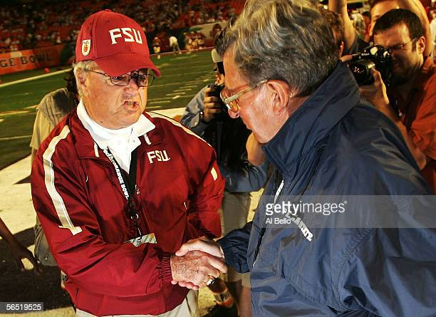 Head Coach Joe Paterno of the Penn State Nittany Lions and Head Coach Bobby Bowden of the Florida State Seminoles shake hands before the FedEx Orange...