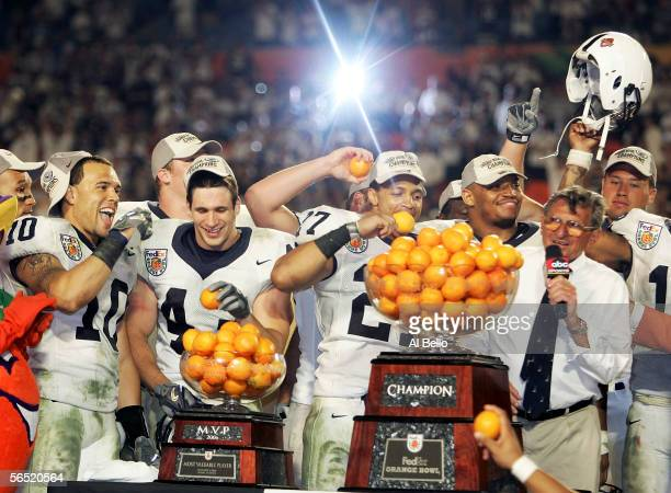 Head coach Joe Paterno of the Penn State Nittany Lions celebrates with his team after defeating the Florida State Seminoles in the FedEx Orange Bowl...