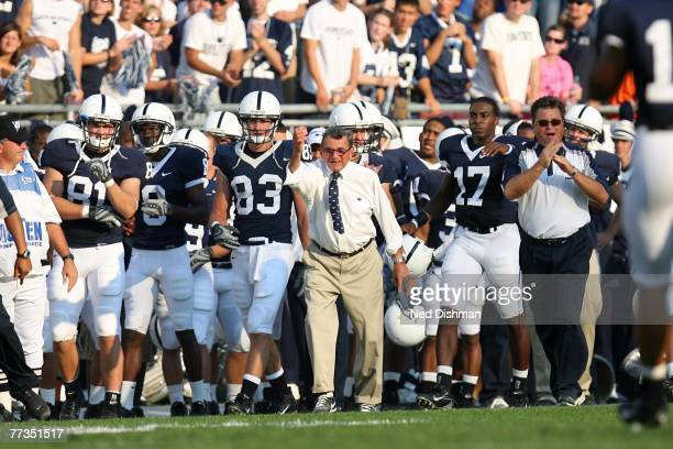 Head coach Joe Paterno of the Penn State Nittany Lions during reacts on the sideline during game against the University of Iowa Hawkeyes at Beaver...
