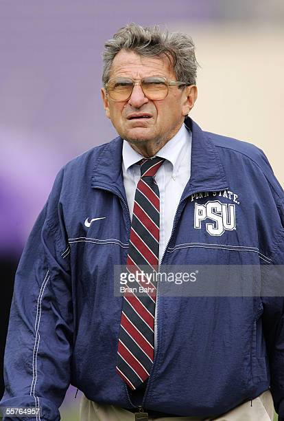Head coach Joe Paterno of the Penn State Nittany Lions paces the sideline after falling behind the Northwestern Wildcats in the first half on...