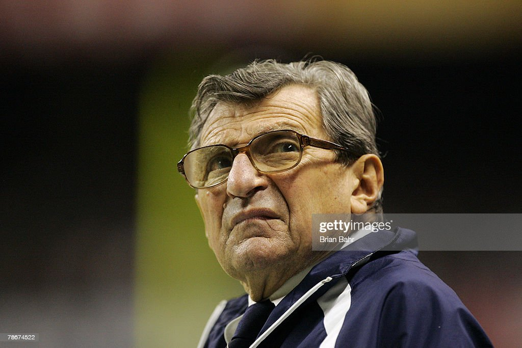 Head coach Joe Paterno of the Penn State Nittany Lions peers back at the clock during the Valero Alamo Bowl against the Texas A&M Aggies on December 29, 2007 at the Alamodome in San Antonio, Texas.