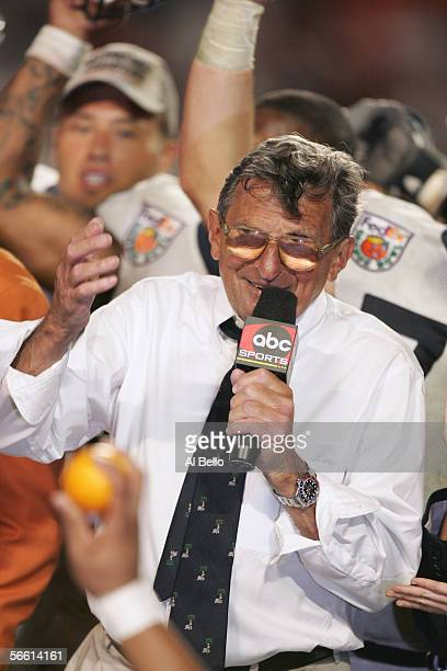 Head coach Joe Paterno of the Penn State Nittany Lions talk to the fans as they receive the Championship Trophy after defeating Florida State...