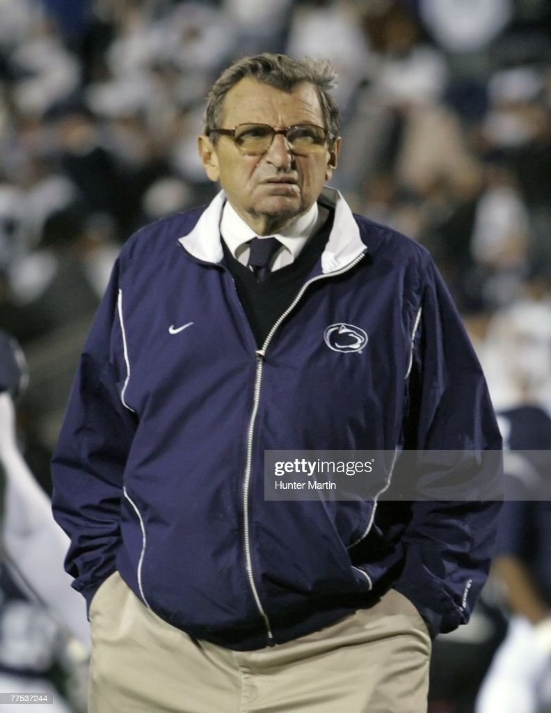 Head Coach Joe Paterno of the Penn State Nittany Lions walks on the field before a game against the Ohio State Buckeyes at Beaver Stadium October 27, 2007 in University Park, Pennsylvania. Ohio State won 37-17.
