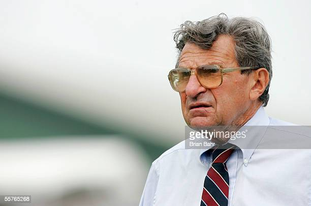 Head coach Joe Paterno of the Penn State Nittany Lions walks the sideline while trailing against the Northwestern Wildcats on September 24, 2005 at...