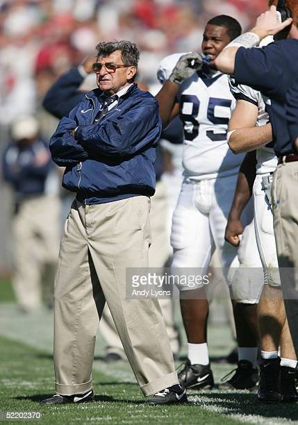 Head coach Joe Paterno of the Penn State Nittany Lions watches the action on the field against the Ohio State Buckeyes at Ohio Stadium on October 30,...
