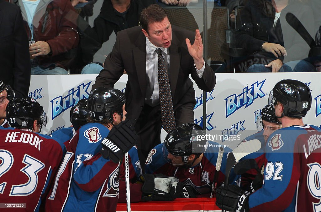Head coach Joe Sacco of the Colorado Avalanche directs Milan Hejduk #23, Ryan O'Reilly #37, Jay McClement #16 and Gabriel Landeskog #92 and the Colorado Avalanche against the Nashville Predators at the Pepsi Center on January 10, 2012 in Denver, Colorado. The Predators defeated the Avlanche 4-1.