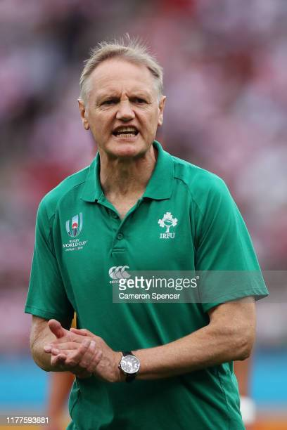 Head coach Joe Schmidt of Ireland instructs players during the warm up prior to the Rugby World Cup 2019 Group A game between Japan and Ireland at...