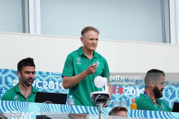 Head coach Joe Schmidt of Ireland is seen in the stand prior to the Rugby World Cup 2019 Group A game between Japan and Ireland at Shizuoka Stadium...