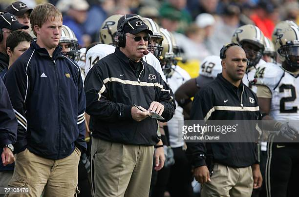Head coach Joe Tiller of the Purdue Boilermakers coaches against the Notre Dame Fighting Irish September 30, 2006 at Notre Dame Stadium in South...