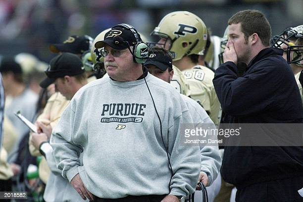 Head coach Joe Tiller of the Purdue University Boilermakers watches the game against the Ohio State University Buckeyes at Ross-Ade Stadium at Purdue...