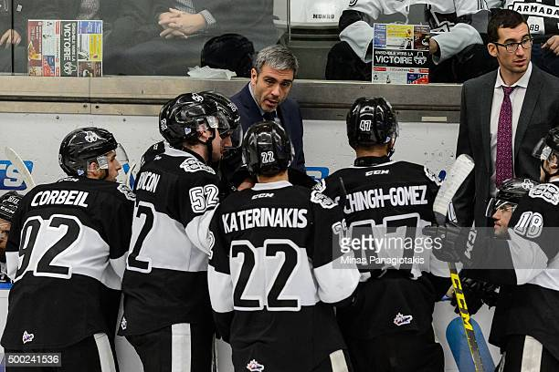 Head coach Joel Bouchard of the BlainvilleBoisbriand Armada regroups his teammates during the QMJHL game against the Cape Breton Screaming Eagles at...