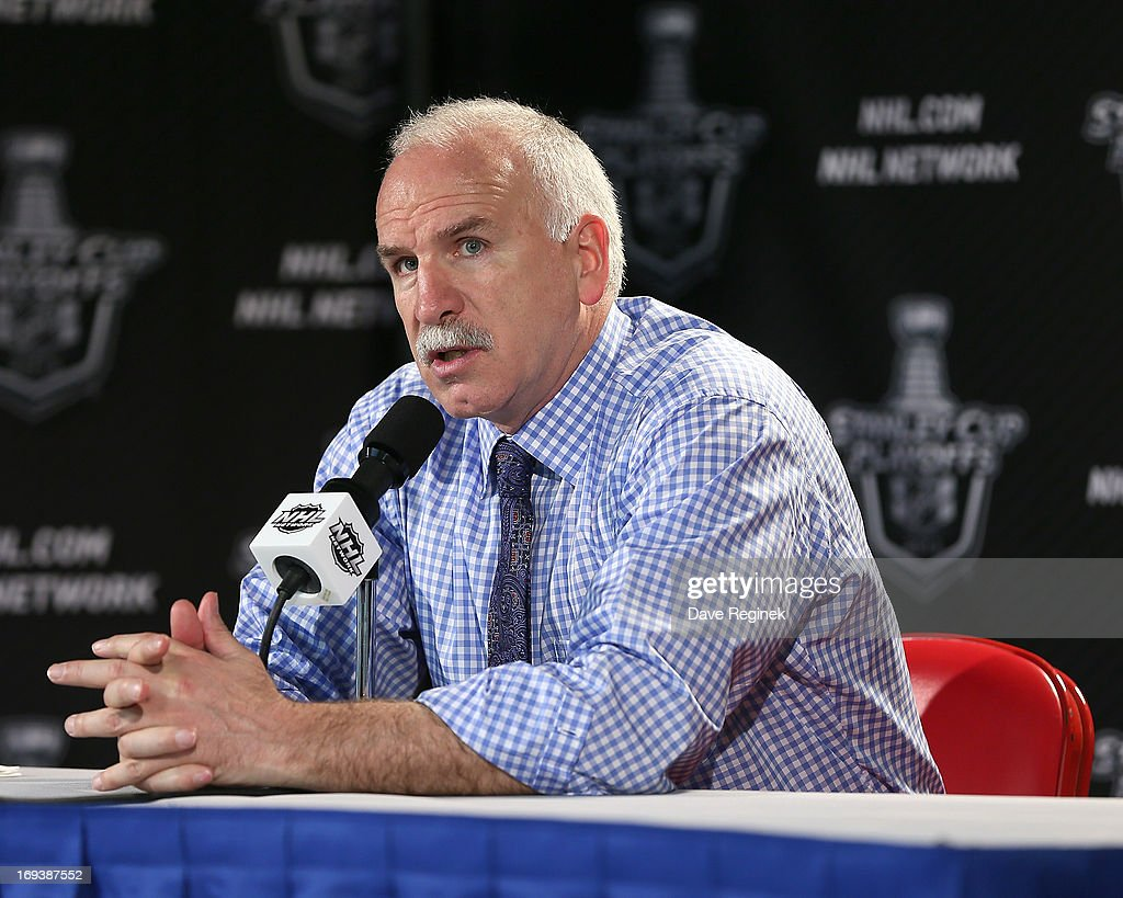 Head Coach Joel Quenneville of the Chicago Blackhawks addresses the media after Game Four of the Western Conference Semifinals against the Detroit Red Wings during the 2013 NHL Stanley Cup Playoffs at Joe Louis Arena on May 23, 2013 in Detroit, Michigan. Detroit defeated Chicago 2-0 to take a 3-1 lead in the series