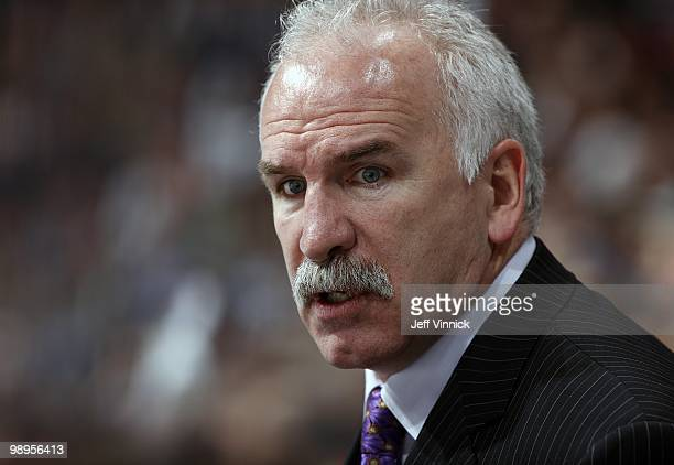 Head coach Joel Quenneville of the Chicago Blackhawks looks on from the bench in Game Four of the Western Conference Semifinals against the Vancouver...