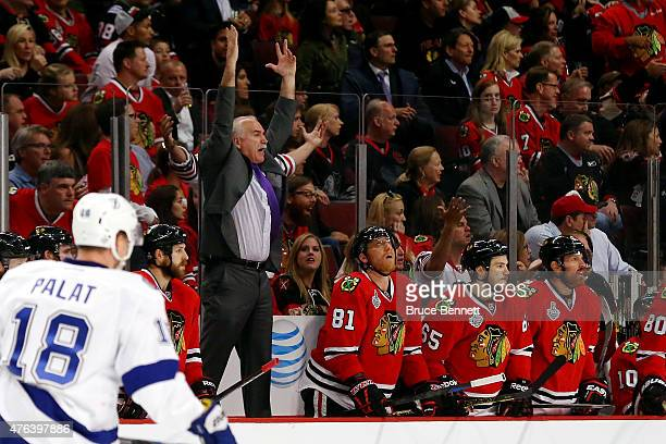 Head coach Joel Quenneville of the Chicago Blackhawks reacts from the bench against the Tampa Bay Lightning during Game Three of the 2015 NHL Stanley...