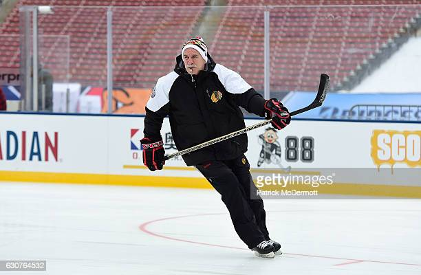 Head coach Joel Quenneville of the Chicago Blackhawks skates during practice for the 2017 Bridgestone NHL Winter Classic at Busch Stadium on January...