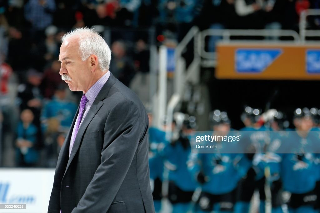 Head Coach, Joel Quenneville of the Chicago Blackhawks walks off the ice after the Sharks defeat the Blackhawks 3-1 at SAP Center at San Jose on January 31, 2017 in San Jose, California.