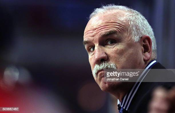 Head coach Joel Quenneville of the Chicago Blackhawks watches as his team takes on the Carolina Hurricanes at the United Center on December 27 2015...