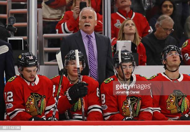Head coach Joel Quenneville of the Chicago Blackhawks watches as his team takes on the Anaheim Ducks at the United Center on November 27 2017 in...