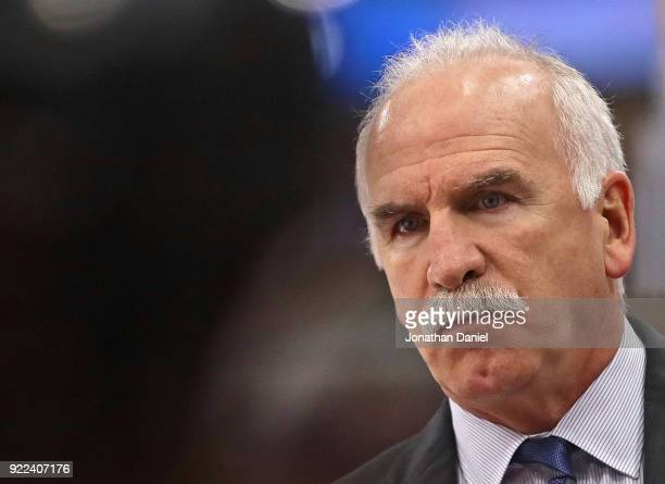 Head coach Joel Quenneville of the Chicago Blackhawks watches his team take on the Los Angeles Kings at the United Center on February 19 2018 in...