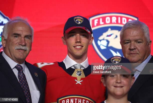 Head coach Joel Quennville, Spencer Knight, 13th overall pick of the Florida Panthers, and general manager Dale Tallon of the Florida Panthers pose...