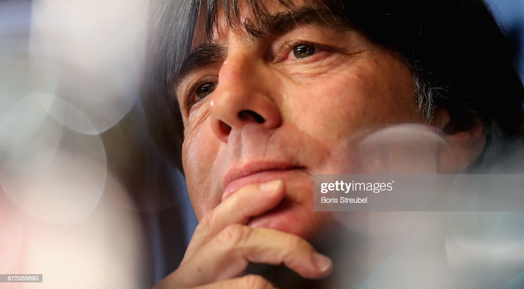 Head coach Jogi Loew of Germany attends a press conference ahead of a international friendly match against England at Mercedes Benz am Salzufer on November 9, 2017 in Berlin, Germany.