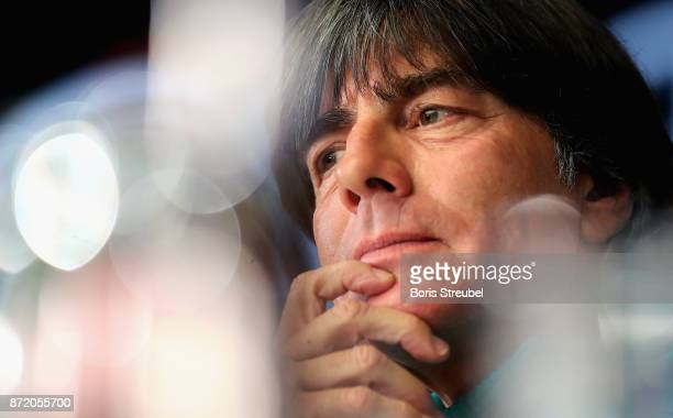 Head coach Jogi Loew of Germany attends a press conference ahead of a international friendly match against England at Mercedes Benz am Salzufer on...