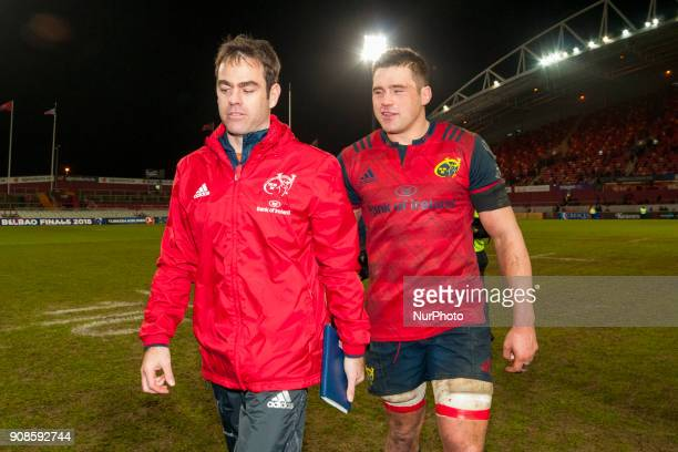 Head Coach Johann van Graan and CJ Stander of Munster during the European Rugby Champions Cup Round 6 match between Munster Rugby and Castres...